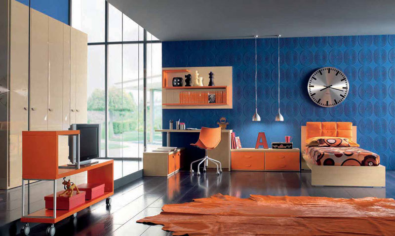 Orange and blue childern room furniture with 3d wallpaper for Blue and orange room