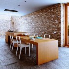 Original Wooden Rustic Kitchen Area with Rock Wall