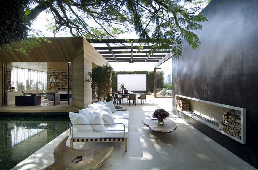 Outdoor Living Space with White Sofa