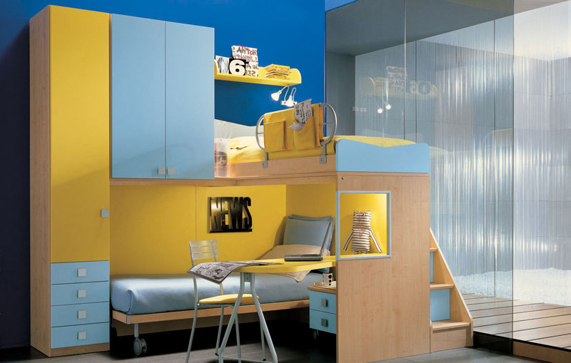 Yellow and Blue Bunkbed with Glass Wall Decor