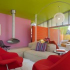 Pink and Green Living Room with Red Couch