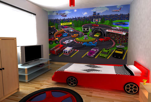 Pit Stop Wallpaper Bedroom for Kids