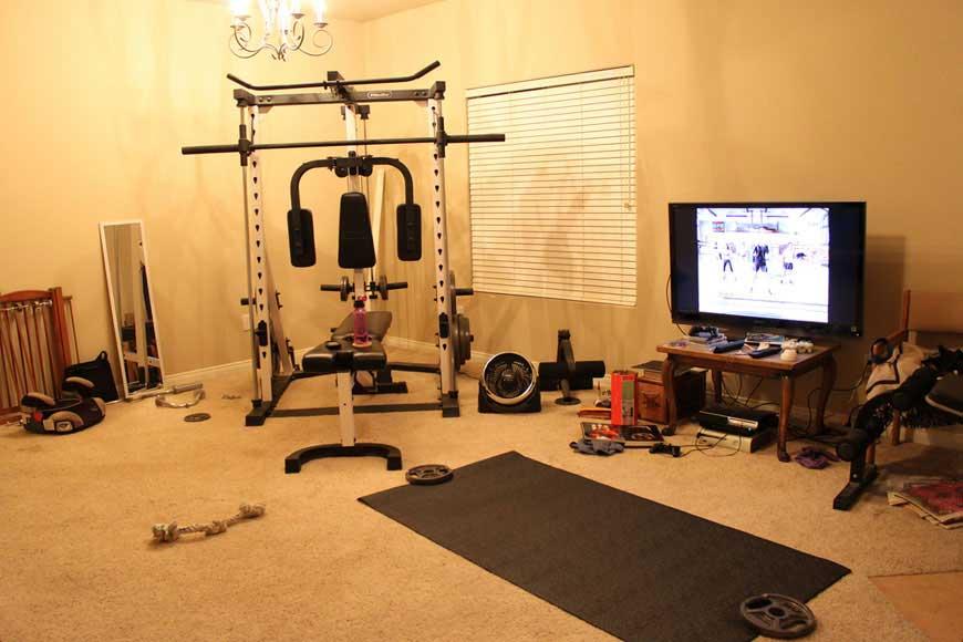 Private gym in living room ideas interior design
