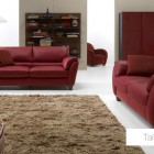 Red Living Room Sofa with Brown Rug