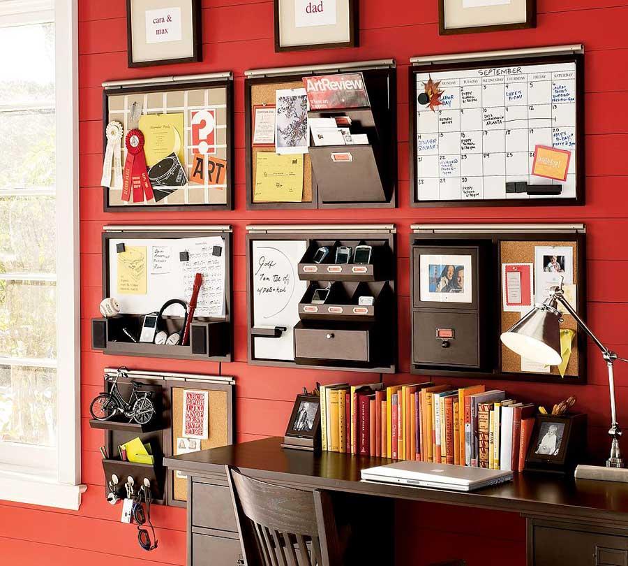Red Stripe Wall Storage Combination
