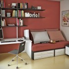 Red Workspaces with Bookcase and Small Bed