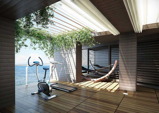 Relax Home Gym with Open Roof Sea View