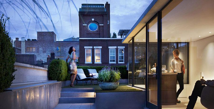 Rooftop Garden with Great Lighting