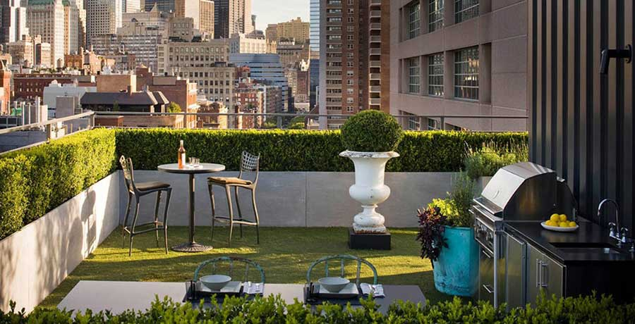 Rooftop Urban Garden Patio with Dining Table - Interior Design Ideas