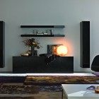 Round Lamp Living Room with Black Wall Unit
