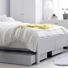 Shining White Bedroom With White Rug From IKEA