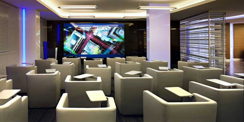 Sophisticated theater with personal sofas interior for Personal office interior design