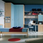 Sky Blue Modern Kids Bedroom with White Brickwall