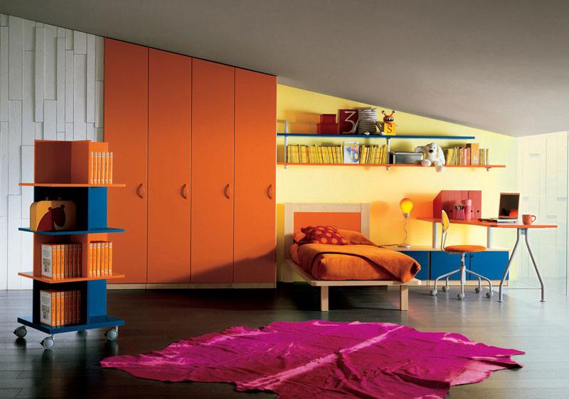 Sloping Ceiling Kids Room with Orange Wadrobe