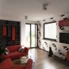 Small Living Room with Red Accents