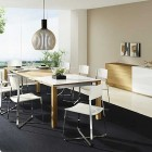 Team7 Modern Dining Room Set Chrome Acrylic Chairs and Black Rug