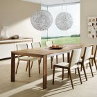 Team7 Modern Dining Set Round Chandeliers with Wheat Field View
