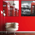 Telephone Box Poster in Red Wall Interior Design