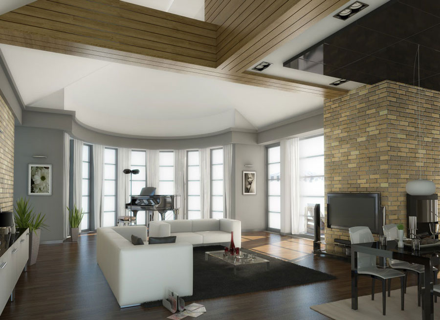 Traditional Living Room With Brick Wall Decorations Traditional