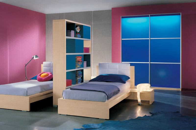 Twin Bed in Dark Pink Room Ideas