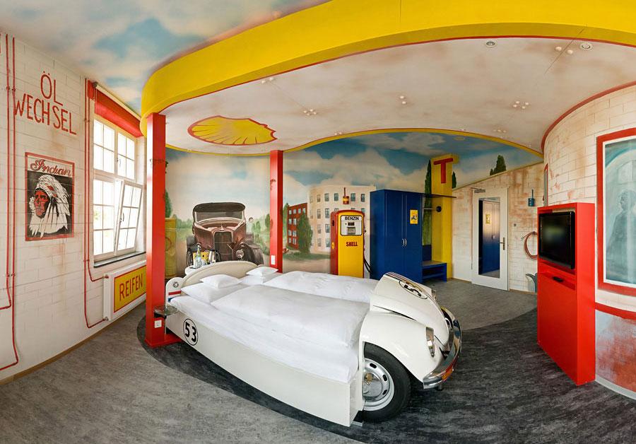 V8 Hotel Gas Station Themed Design