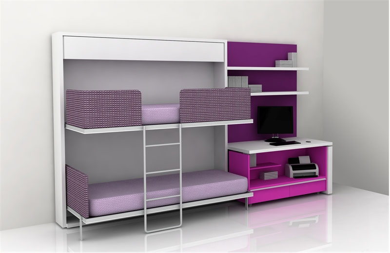 Violet and Purple Teen Bedroom Furniture for Small Space