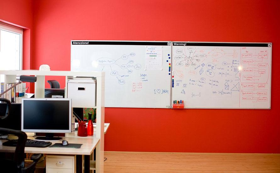White Board At Orange Room Office Interior Design Ideas