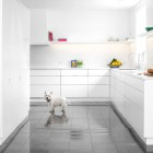 White Corian Kitchen with Marble Floors