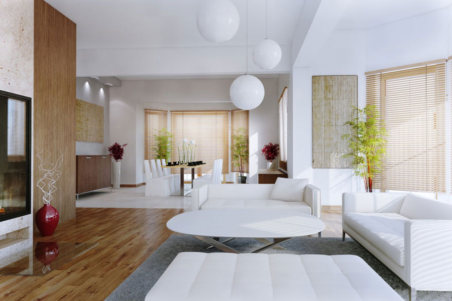 White Living Room Plants with Wooden Floor