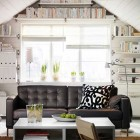 White Living Room with Black Lether Couch