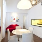 White Loft Dining Nook and Red Couch Furniture