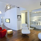 White Loft Living Room with Red and White Furniture