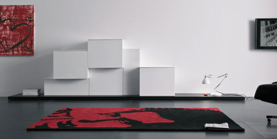 White TV Cabinet Spazio Box Volumi Design