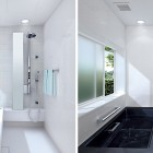 White and Black Bathub in Small Bathroom Sprino