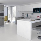 White and Blue Kitchen Design with Yellow Accents