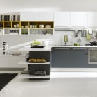 White and Grey Kitchen Open to Family Room