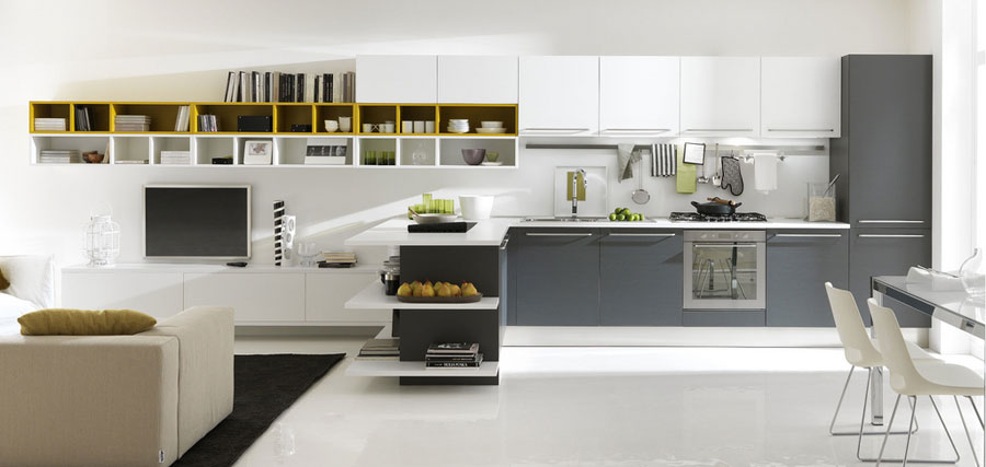 White and grey kitchen open to family room interior for Gray and white family rooms