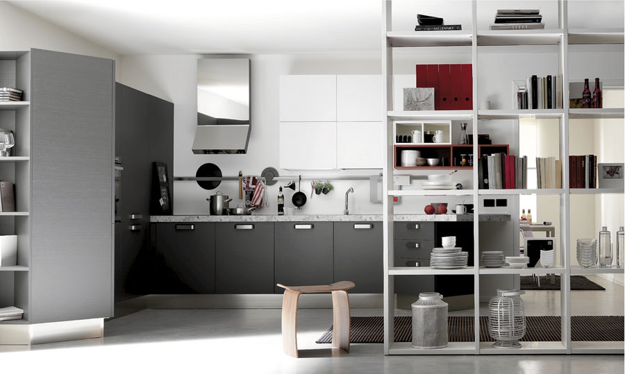 White and Red Kitchen Open by Armando Ferriani