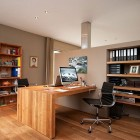 Wooden Desk Mac Design with Spacious Workspace