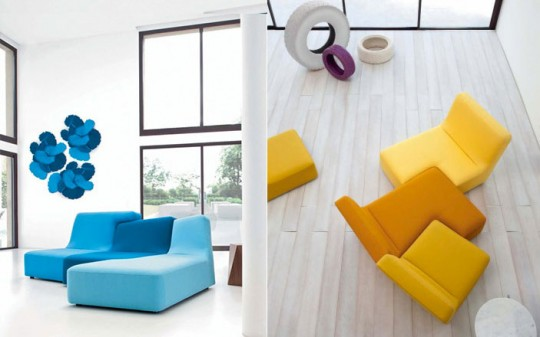 Yellow and Blue Modern Couches White Living Room