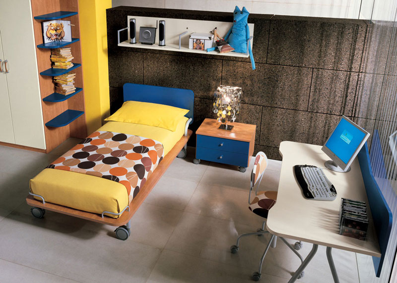 Yellow Bed and Brown Wall Decoration