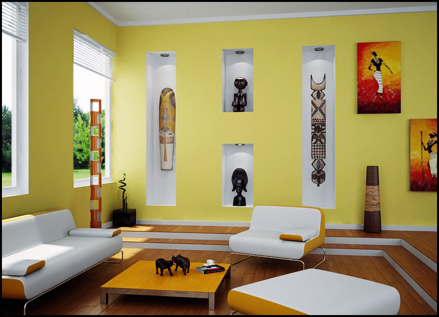 Yellow Living Room with African Art