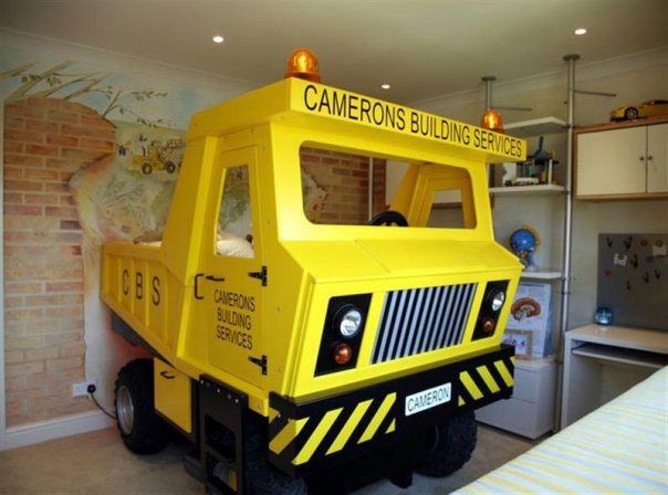 Yellow Mining Truck Themed Bed for Boys