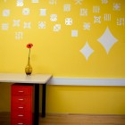 Yellow Wall with Dot Pixel Decorations