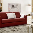 Asian Influenced Living Room with Red Leather Sofas