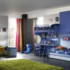 Aweseome Blue Kids Room with Green Rugs for Two Childern