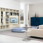 Awesome Cream Shelves and Sofa with Blue Box Decor