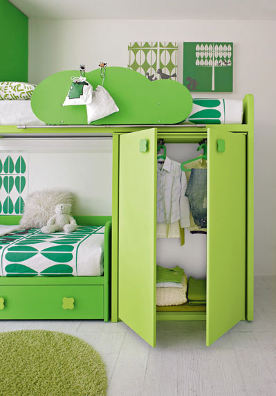 Awesome Green Bunk Beds Built in Wardrobe by Stemik Living