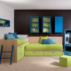 Awesome Kids Room with Hanging Book Shelves and Blue Computer Desk