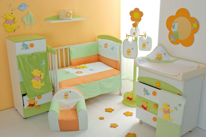 Baby Crib Furniture Set with Orange and Green Winnie the Pooh Decor